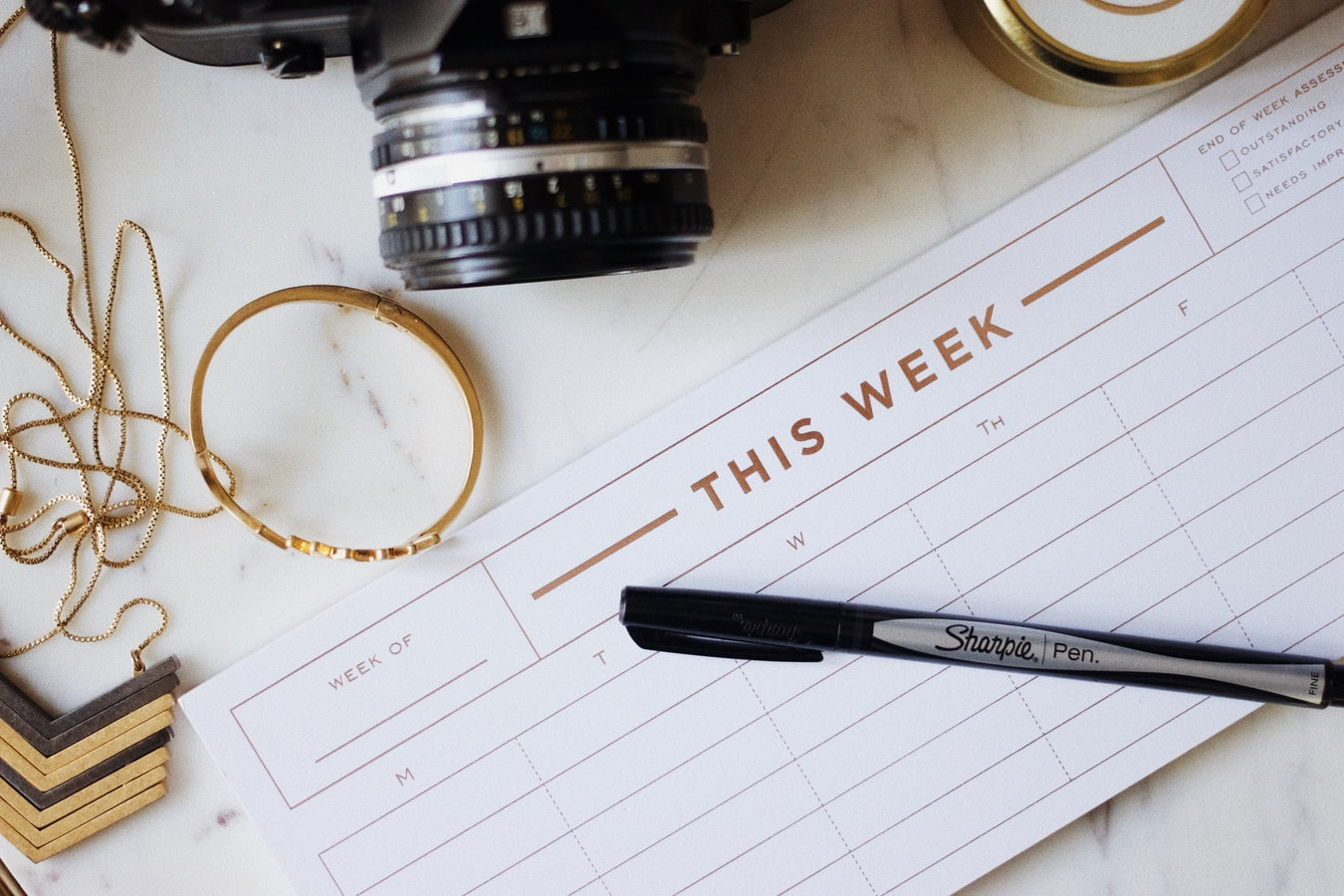 week planner on a dek